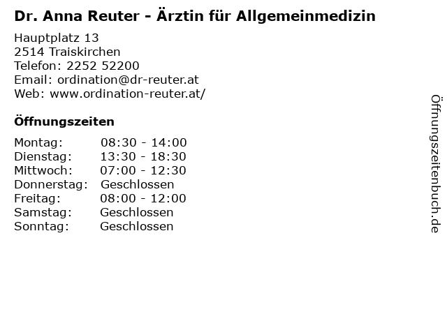 Dr. Anna Reuter - Ärztin für Allgemeinmedizin in Traiskirchen: Adresse und Öffnungszeiten