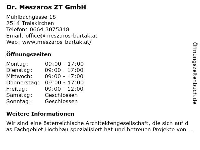 Dr. Meszaros ZT GmbH in Traiskirchen: Adresse und Öffnungszeiten