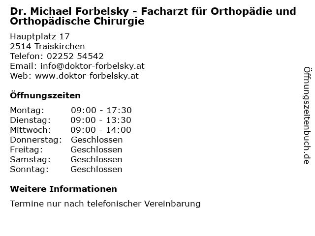Dr. Michael Forbelsky - Facharzt für Orthopädie und Orthopädische Chirurgie in Traiskirchen: Adresse und Öffnungszeiten