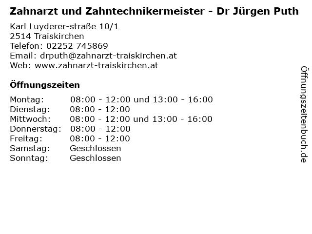 Dr. med. dent. Jürgen Puth - Zahnarzt und Zahntechnikermeister in Traiskirchen: Adresse und Öffnungszeiten