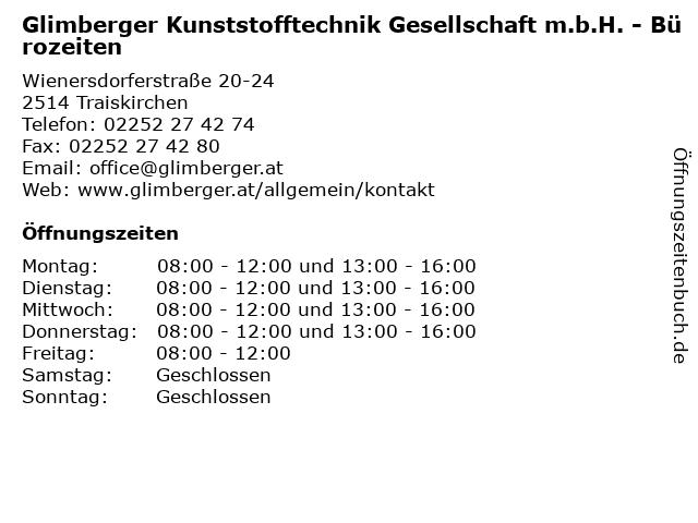 Glimberger Kunststofftechnik Gesellschaft m.b.H. - Bürozeiten in Traiskirchen: Adresse und Öffnungszeiten