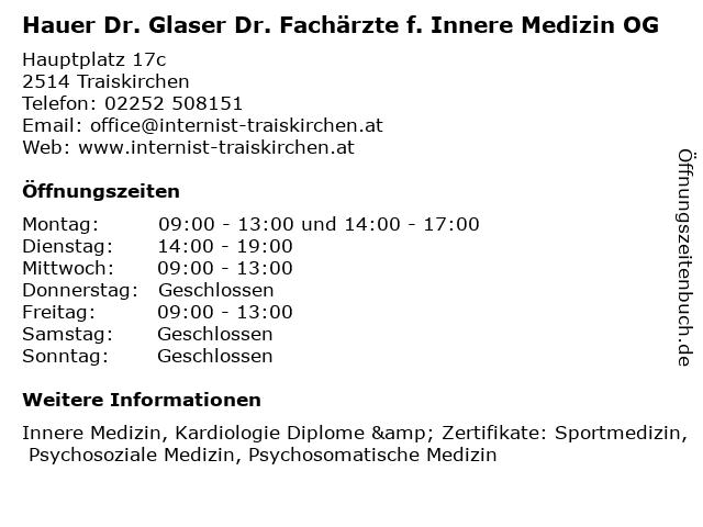 Hauer Dr. Glaser Dr. Fachärzte f. Innere Medizin OG in Traiskirchen: Adresse und Öffnungszeiten