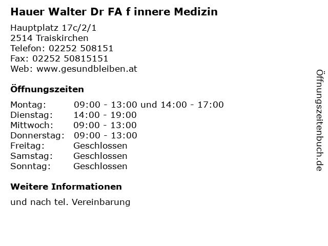 Hauer Walter Dr FA f innere Medizin in Traiskirchen: Adresse und Öffnungszeiten