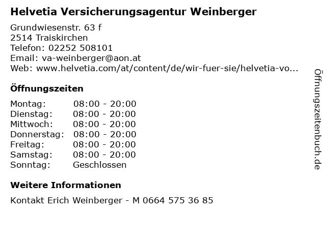 Helvetia Versicherungsagentur Weinberger in Traiskirchen: Adresse und Öffnungszeiten