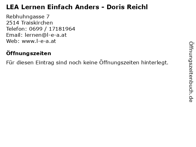 LEA Lernen Einfach Anders - Doris Reichl in Traiskirchen: Adresse und Öffnungszeiten