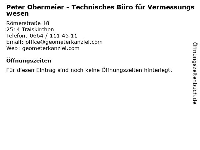Peter Obermeier - Technisches Büro für Vermessungswesen in Traiskirchen: Adresse und Öffnungszeiten
