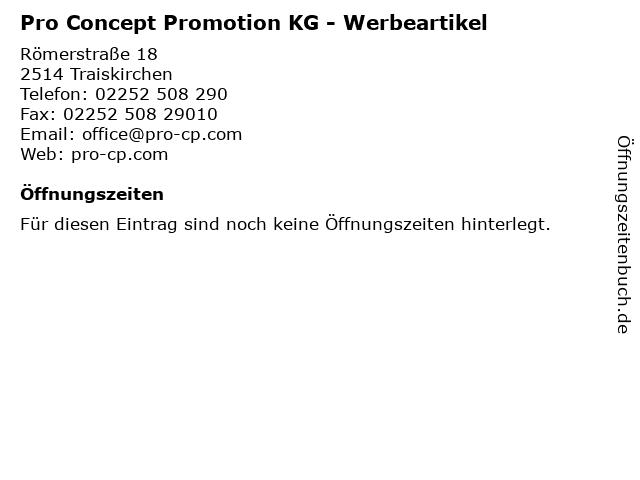 Pro Concept Promotion KG - Werbeartikel in Traiskirchen: Adresse und Öffnungszeiten