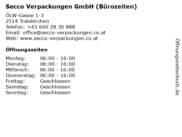 Secco Verpackungen GmbH (Bürozeiten) in Traiskirchen: Adresse und Öffnungszeiten