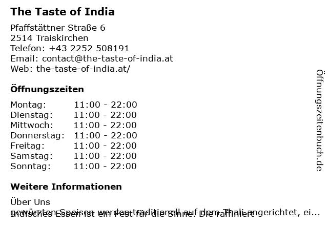 The Taste of India in Traiskirchen: Adresse und Öffnungszeiten