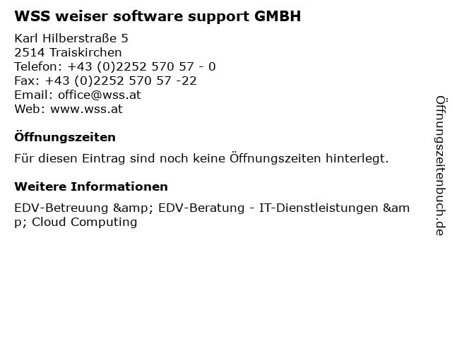 WSS weiser software support GMBH in Traiskirchen: Adresse und Öffnungszeiten