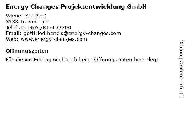 Energy Changes Projektentwicklung GmbH in Traismauer: Adresse und Öffnungszeiten