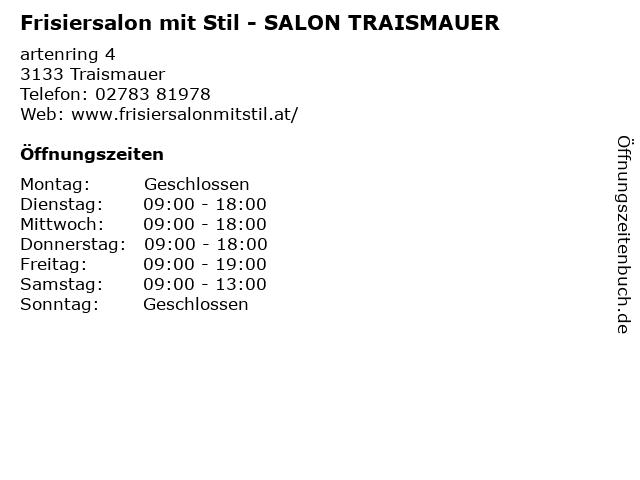 Frisiersalon mit Stil - SALON TRAISMAUER in Traismauer: Adresse und Öffnungszeiten