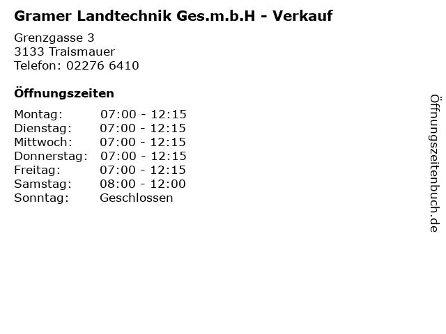 Gramer Landtechnik Ges.m.b.H - Verkauf in Traismauer: Adresse und Öffnungszeiten
