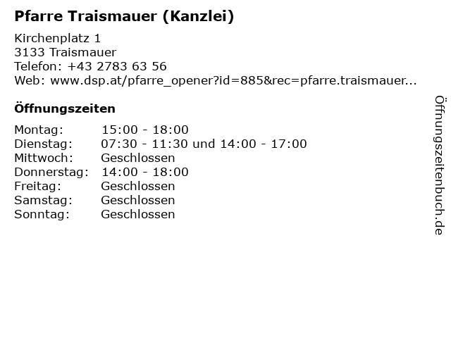 Pfarre Traismauer (Kanzlei) in Traismauer: Adresse und Öffnungszeiten