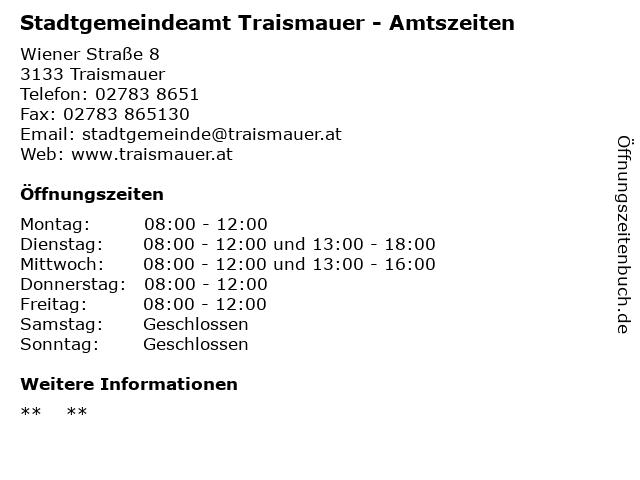 Stadtgemeindeamt Traismauer - Amtszeiten in Traismauer: Adresse und Öffnungszeiten