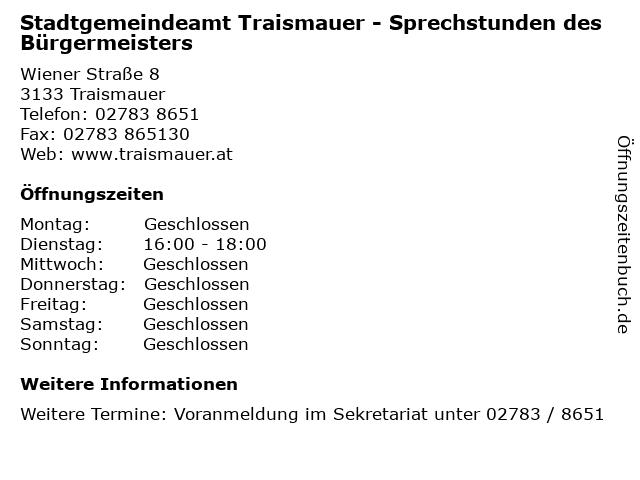Stadtgemeindeamt Traismauer - Sprechstunden des Bürgermeisters in Traismauer: Adresse und Öffnungszeiten