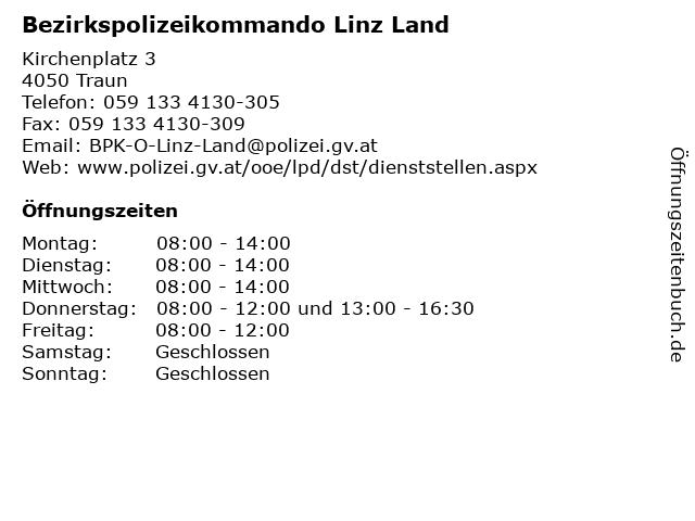 Bezirkspolizeikommando Linz Land in Traun: Adresse und Öffnungszeiten