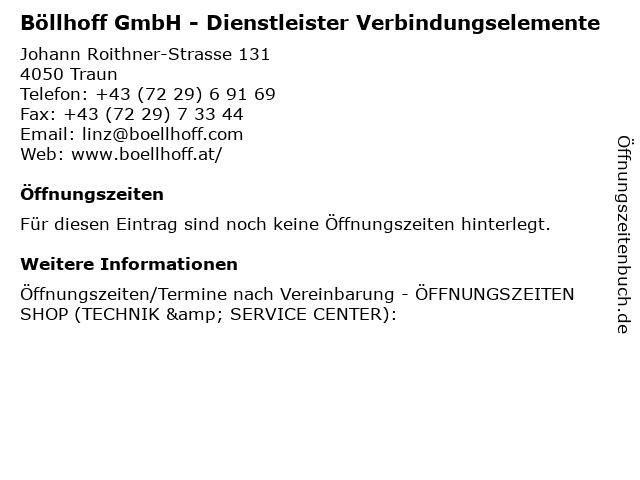 Böllhoff GmbH - Dienstleister Verbindungselemente in Traun: Adresse und Öffnungszeiten