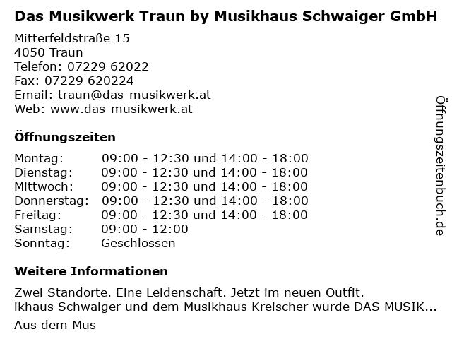 Das Musikwerk Traun by Musikhaus Schwaiger GmbH in Traun: Adresse und Öffnungszeiten