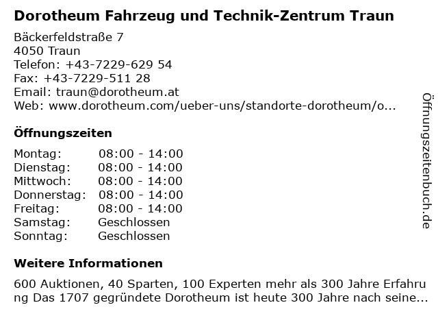 Dorotheum Fahrzeug und Technik-Zentrum Traun in Traun: Adresse und Öffnungszeiten