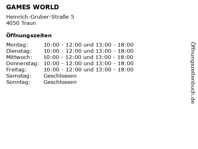 GAMES WORLD in Traun: Adresse und Öffnungszeiten