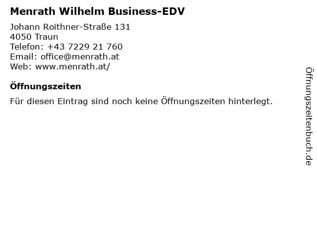 Menrath Wilhelm Business-EDV in Traun: Adresse und Öffnungszeiten