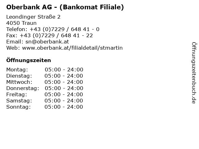 Oberbank AG - (Bankomat Filiale) in Traun: Adresse und Öffnungszeiten