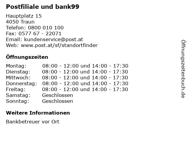 Postfiliale und bank99 in Traun: Adresse und Öffnungszeiten