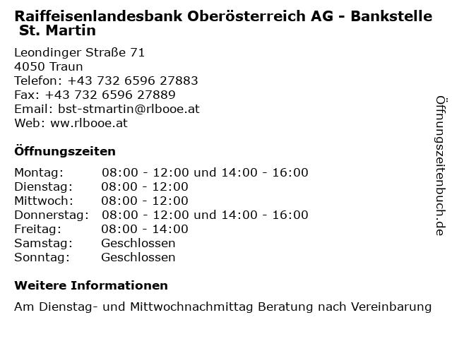 Raiffeisenlandesbank Oberösterreich AG - Bankstelle St. Martin in Traun: Adresse und Öffnungszeiten