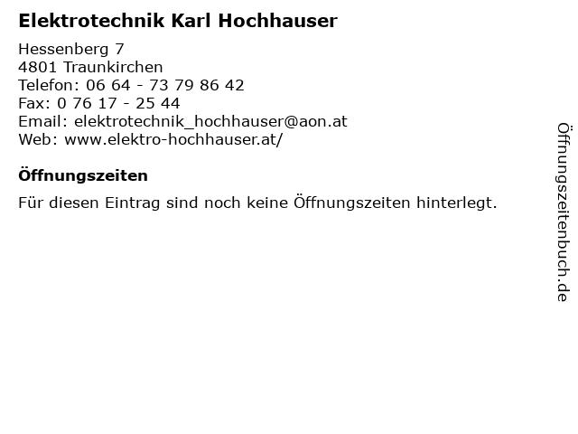 Elektrotechnik Karl Hochhauser in Traunkirchen: Adresse und Öffnungszeiten