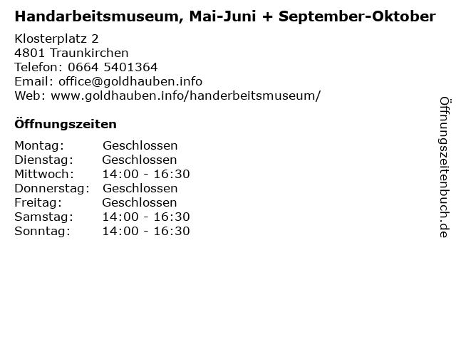 Handarbeitsmuseum, Mai-Juni + September-Oktober in Traunkirchen: Adresse und Öffnungszeiten