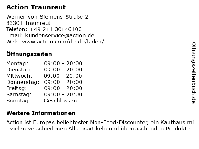 Action Deutschland GmbH in Traunreut: Adresse und Öffnungszeiten