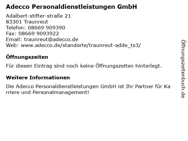 Adecco Personaldienstleistungen GmbH in Traunreut: Adresse und Öffnungszeiten