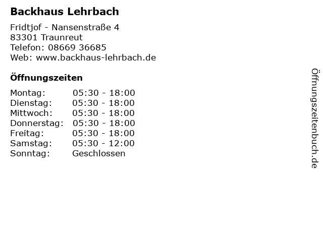 Backhaus Lehrbach in Traunreut: Adresse und Öffnungszeiten