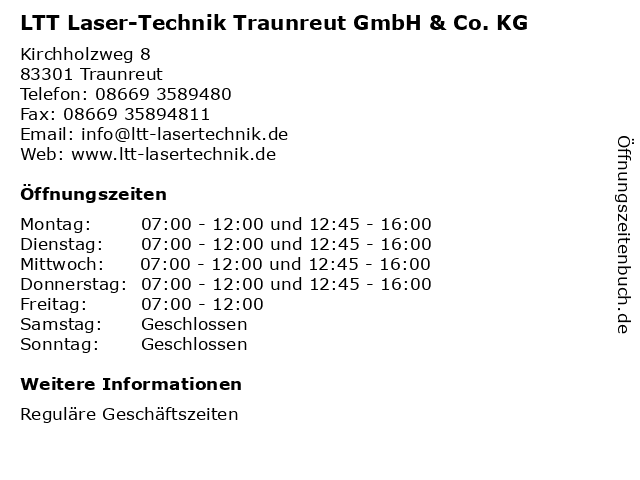 LTT Laser-Technik Traunreut GmbH & Co. KG in Traunreut: Adresse und Öffnungszeiten