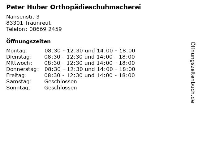 Peter Huber Orthopädieschuhmacherei in Traunreut: Adresse und Öffnungszeiten
