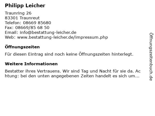 Philipp Leicher in Traunreut: Adresse und Öffnungszeiten