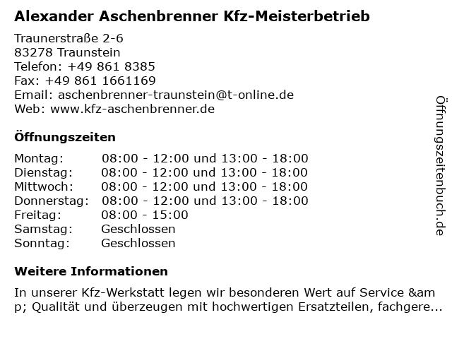 Alexander Aschenbrenner Kfz-Meisterbetrieb in Traunstein: Adresse und Öffnungszeiten