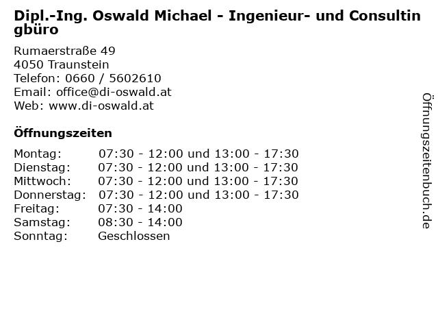 Dipl.-Ing. Oswald Michael - Ingenieur- und Consultingbüro in Traunstein: Adresse und Öffnungszeiten