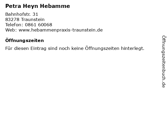Petra Heyn Hebamme in Traunstein: Adresse und Öffnungszeiten