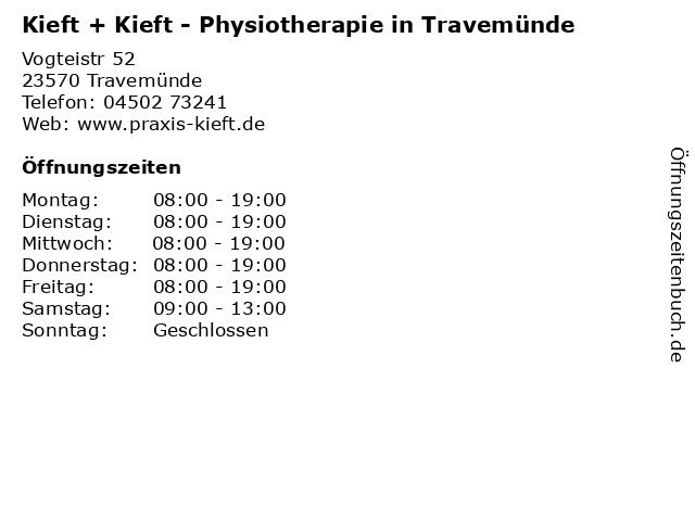 Kieft + Kieft - Physiotherapie in Travemünde in Travemünde: Adresse und Öffnungszeiten