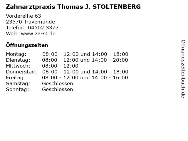 Zahnarztpraxis Thomas J. STOLTENBERG in Travemünde: Adresse und Öffnungszeiten