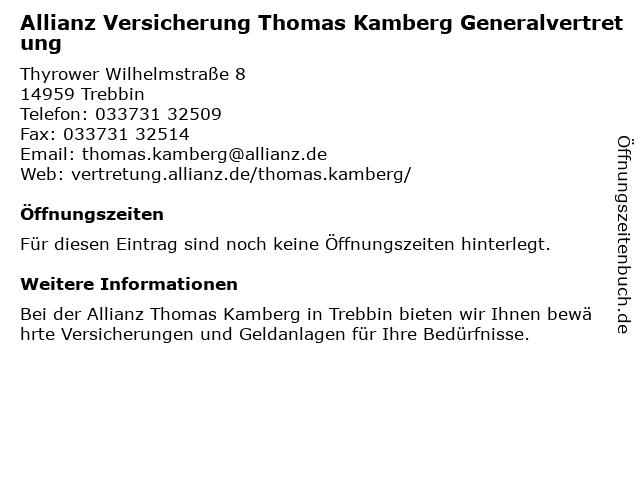 Allianz Vertretung Thomas Kamberg in Trebbin: Adresse und Öffnungszeiten
