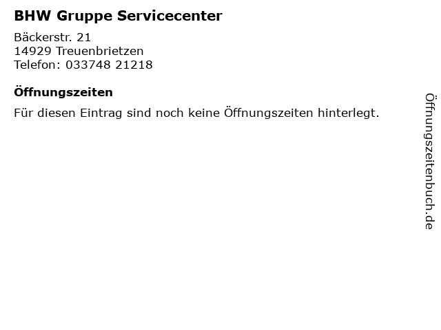 BHW Gruppe Servicecenter in Treuenbrietzen: Adresse und Öffnungszeiten