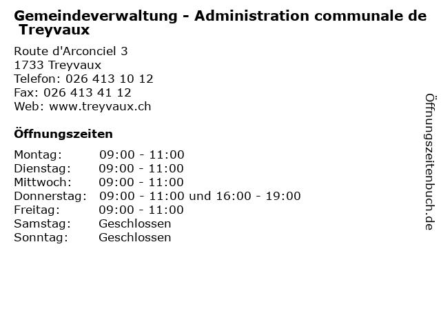 Gemeindeverwaltung - Administration communale de Treyvaux in Treyvaux: Adresse und Öffnungszeiten