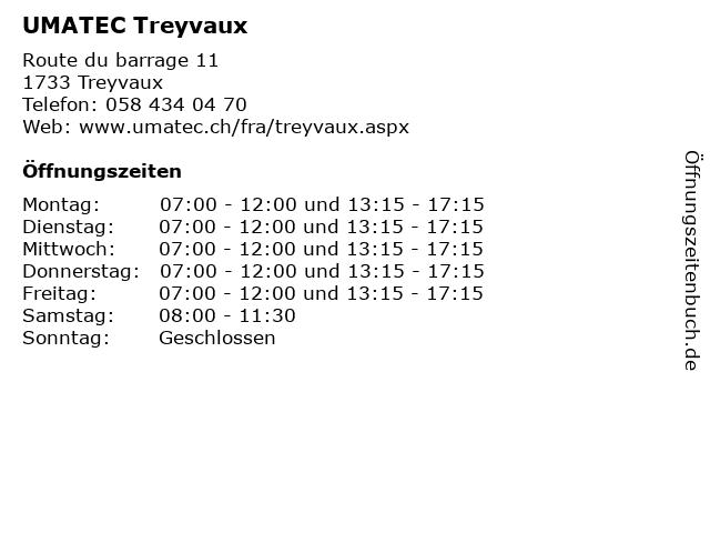 UMATEC Treyvaux in Treyvaux: Adresse und Öffnungszeiten