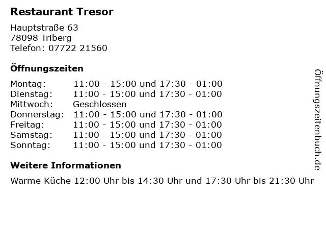 Restaurant Tresor in Triberg: Adresse und Öffnungszeiten