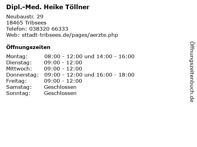 Dipl.-Med. Heike Töllner in Tribsees: Adresse und Öffnungszeiten