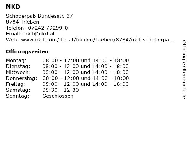 NKD in Trieben: Adresse und Öffnungszeiten