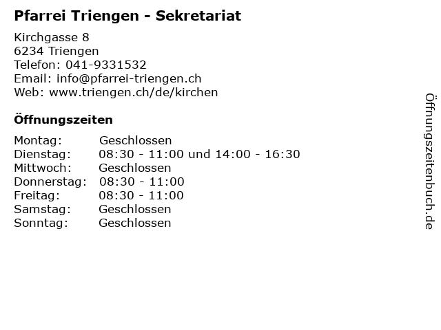 Pfarrei Triengen - Sekretariat in Triengen: Adresse und Öffnungszeiten